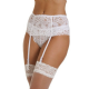 Wide Lace Ribbon Strap Suspender Belt - White